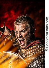 fierce battle - Portrait of a courageous ancient warrior in...