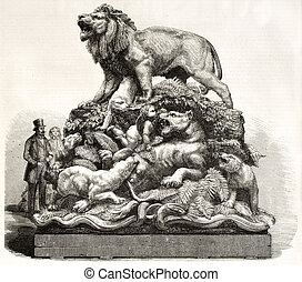 Fierce beasts - Sculpted group depicting fierce beasts tamed...