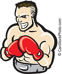 Fierce boxer - A strong young boxer wearing red boxing...