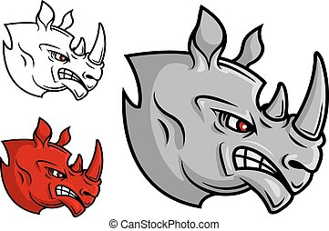Fierce cartoon rhino head