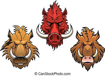 Fierce cartoon wild boar characters - Cartoon fierce wild...