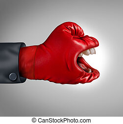 Fierce competitor business concept as a communication symbol of making your voice heard as a red competitor boxing glove with a yelling human mouth screaming an important message asserting leadership and dominance.