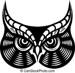 Fierce looking horned owl - Cartoon vector illustration in...