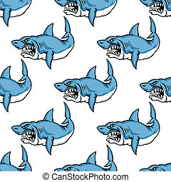 Fierce predatory swimming shark baring its teeth in a seamless repeat pattern in square format suitable for a nautical themed wallpaper or fabric