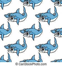 Fierce predatory swimming shark baring its teeth in a...