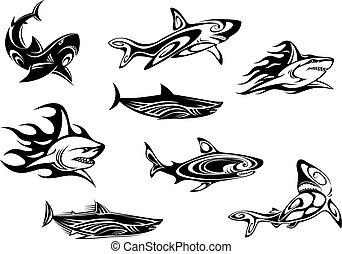 Fierce shark tattoo icons - Fierce shark icons swimming...