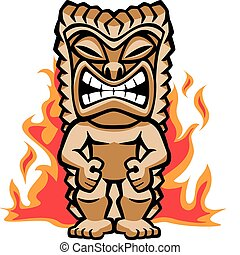 Fierce Warrior Tiki - Illustration of a strong tiki warrior...