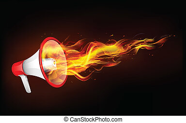 Fiery Announcement - illustration of fire flame coming out...