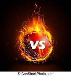 Fiery ball for Cricket Championship with VS versus text