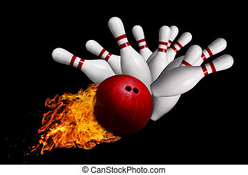 Fiery Ball Hitting Pins in Bowling Strike Isolated on Black Background