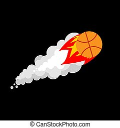Fiery Basketball isolated. Flying gaming ball vector illustration