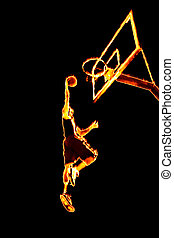 Fiery Basketball Slam Dunk - Abstract illustration of a...
