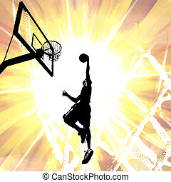 Fiery Basketball Slam Dunk - Silhouette illustration of an...