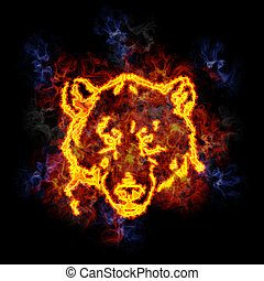 Fiery bear face. - Bear face, covered in flames.