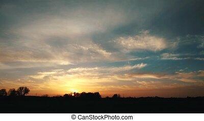 fiery beautiful sunset, time lapse 4k
