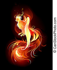 artistically painted, the fire bird with a long beautiful tail on a black background.