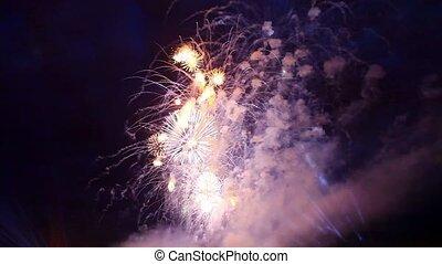 Sparkler fireworks against the dark sky