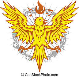 A yellow song bird with notes and flames