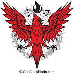 Fiery Cardinal - Emblem of a cardinal with flames and music ...