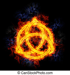 Fiery Celtic Knot. - Celtic Knot, covered in flames.