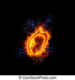 Fiery chinese looking letter O.