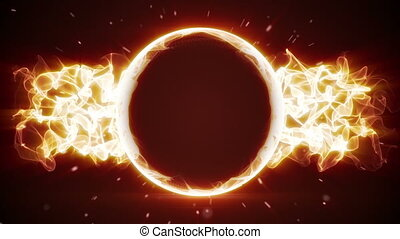 fiery circle and fractal form loopable background