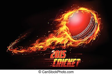 Fiery cricket ball - illustration of fiery cricket ball in...