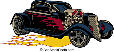 A retro hot rod with flames