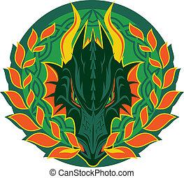 Fiery Dragon Emblem - Circular green dragon design with fire...