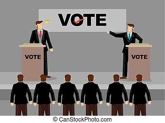 Fiery Election Debate Cartoon Vector Illustration - Vector...