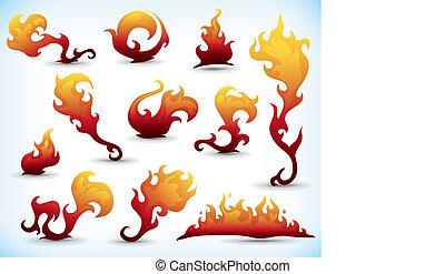 fiery elements - set of fiery tattoo elements