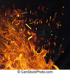 Fiery Energy Background with Sparks