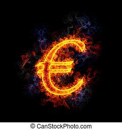 Fiery Euro symbol.