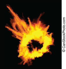 Fiery explosion on a black background. Fiery explosion on a ...