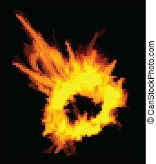 Fiery explosion on a black background. Fiery explosion on a ...