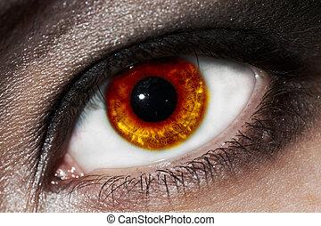 fiery eye - female fiery eye closeup with gothic makeup....