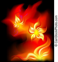Fiery flower and butterfly from fire