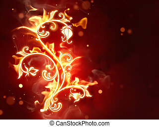 Fiery flower - bright fiery flowers on dark red background