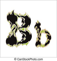 fiery font black and green letter B on white background