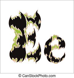 fiery font black and green letter E on white background