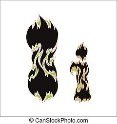 fiery font black and green letter I on white background