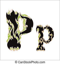 fiery font black and green letter P on white background
