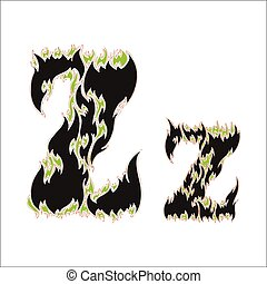 fiery font black and green letter Z on white background