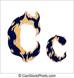 fiery font blue letter C on a white background