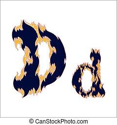 fiery font blue letter D on a white background