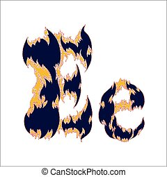fiery font blue letter E on a white background