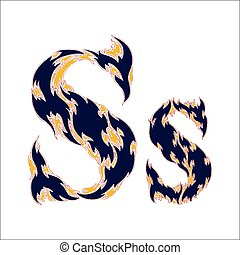 fiery font blue letter S on a white background