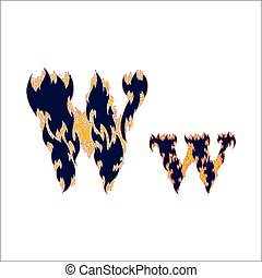 fiery font blue letter W on a white background