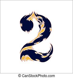 fiery font blue number 2 on a white background
