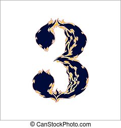 fiery font blue number 3 on a white background